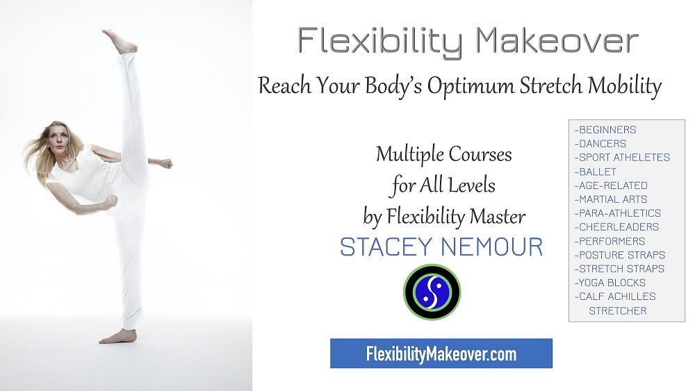 Flexibility Makeover Banner: An image of Stacy in a Standing split yoga pose and details about courses