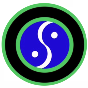 Logo for Stacey Nemour flexibility project: green circle then black circle then green cicle then blue and white yin and yang representation